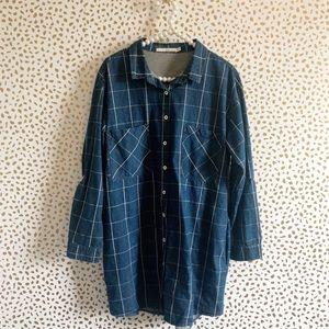 Ellison Chambray Windowpane Grid Print Shirt Dress